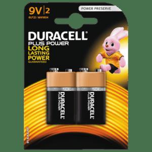 Duracell Plus Power 9V batteri (2 stk)