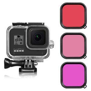 Vandtæt hus/cover 45m + 3stk. Farve - Passer til GoPro Hero 8