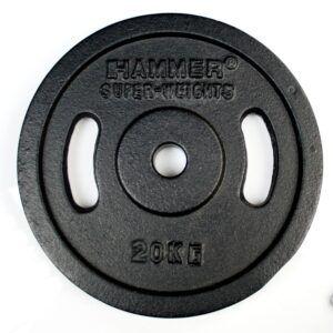 HAMMER Dumbbell Weight Discs 2 x 20 kg, Iron (Ø 30 mm)