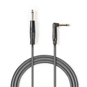 Mono Audio kabel | 6.35 mm Hanstik | 6.35 mm Hanstik Vinklet | Nikkelplateret | 3.00 m | Runde | PVC