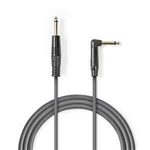 Mono Audio kabel | 6.35 mm Hanstik | 6.35 mm Hanstik Vinklet | Nikkelplateret | 5.00 m | Runde | PVC